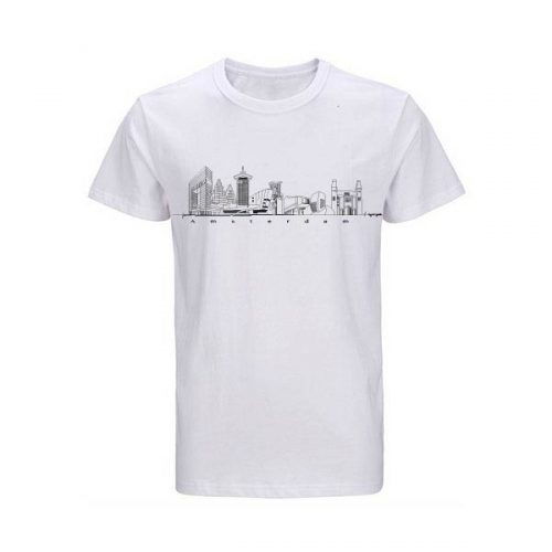 t-shirt-wit-Amsterdam Skyline
