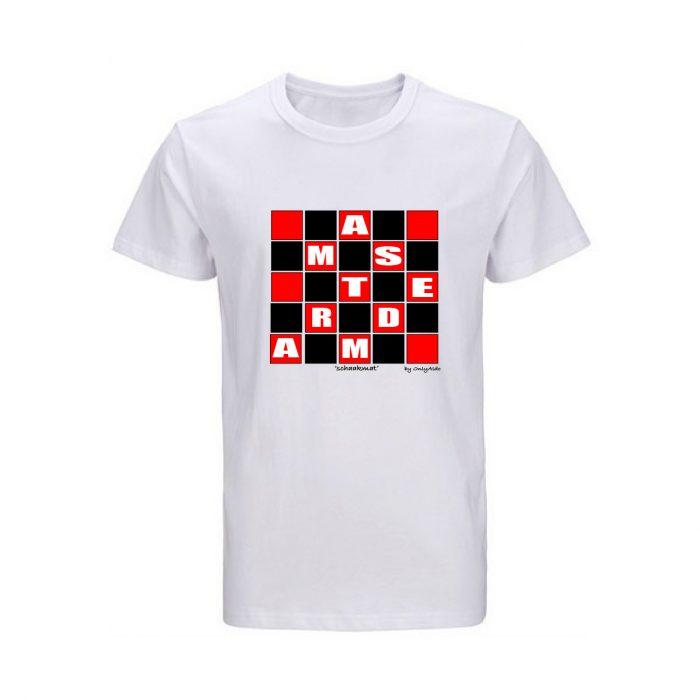 T-shirt Amsterdam Schaakmat zwart