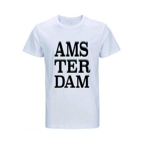 t-shirt-wit AMSTERDAM
